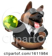 3d Business German Shepherd Dog Holding A Globe On A White Background
