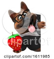 3d Business German Shepherd Dog Holding A Strawberry On A White Background