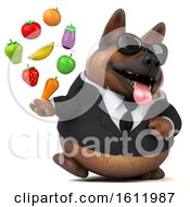 3d Business German Shepherd Dog Holding Produce On A White Background