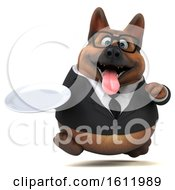 3d Business German Shepherd Dog Holding A Plate On A White Background