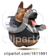 3d Business German Shepherd Dog Holding A Euro On A White Background