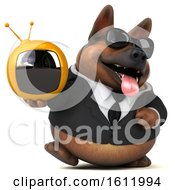 3d Business German Shepherd Dog Holding A Tv On A White Background