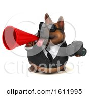3d Business German Shepherd Dog Holding A Camera On A White Background