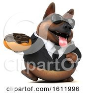 3d Business German Shepherd Dog Holding A Donut On A White Background