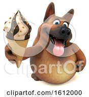 3d German Shepherd Dog Holding A Waffle Cone On A White Background