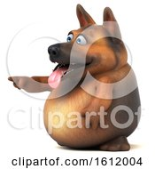 3d German Shepherd Dog Pointing On A White Background