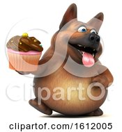 3d German Shepherd Dog Holding A Cupcake On A White Background