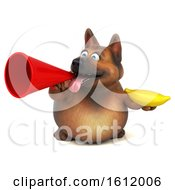 3d German Shepherd Dog Holding A Banana On A White Background