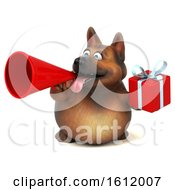 3d German Shepherd Dog Holding A Gift On A White Background