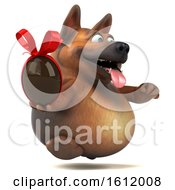 3d German Shepherd Dog Holding A Chocolate Egg On A White Background