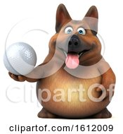 3d German Shepherd Dog Holding A Golf Ball On A White Background