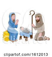 Poster, Art Print Of Nativity Christmas Cartoon Scene