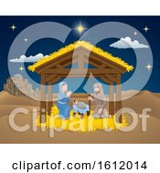 Poster, Art Print Of Nativity Christmas Scene Cartoon