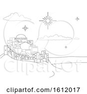 Poster, Art Print Of Nativity Christmas City Cartoon Scene Coloring