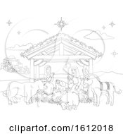 Cartoon Christmas Nativity Scene Coloring