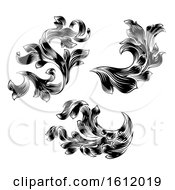 Poster, Art Print Of Heraldic Floral Filigree Pattern Scroll Design Set