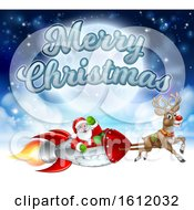 Merry Christmas Santa Claus Rocket Sleigh