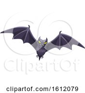 Clipart Of A Flying Bat Royalty Free Vector Illustration