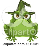 Clipart Of A Frog Wearing A Witch Hat Royalty Free Vector Illustration