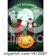Clipart Of A Halloween Greeting Royalty Free Vector Illustration by Vector Tradition SM