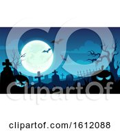 Clipart Of A Blue Halloween Background Of A Cemetery Royalty Free Vector Illustration by Vector Tradition SM