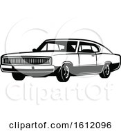 Clipart Of A Black And White Muscle Car Royalty Free Vector Illustration
