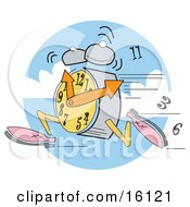 Alarm Clock Wearing Shoes Running Ringing And Dropping Numbers Clipart Illustration