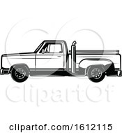 Clipart Of A Black And White Pickup Truck Royalty Free Vector Illustration