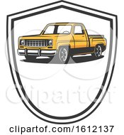 Clipart Of A Vintage Pickup Truck Royalty Free Vector Illustration