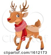 Clipart Of A Christmas Reindeer Wearing A Scarf Royalty Free Vector Illustration