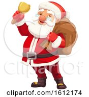 Clipart Of Santa Claus Ringing A Bell Royalty Free Vector Illustration by Vector Tradition SM