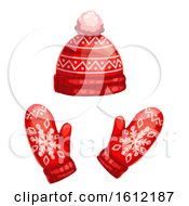 Clipart Of A Winter Hat And Mittens Royalty Free Vector Illustration