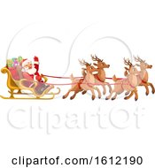 Clipart Of A Christmas Sleigh With Santa And His Team Of Reindeer Royalty Free Vector Illustration