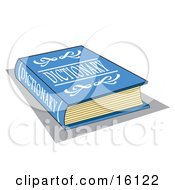 Blue Dictionary Book With White Text On The Cover