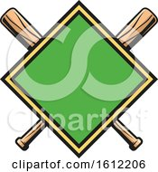 Poster, Art Print Of Diamond With Crossed Baseball Bats
