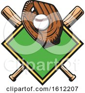 Poster, Art Print Of Baseball In A Glove Over A Diamond And Crossed Bats