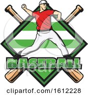 Clipart Of A Baseball Pitcher Over A Diamond And Crossed Bats Royalty Free Vector Illustration