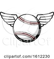 Clipart Of A Winged Baseball Royalty Free Vector Illustration
