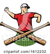 Clipart Of A Baseball Pitcher Over Crossed Bats Royalty Free Vector Illustration