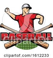 Poster, Art Print Of Baseball Pitcher Over Crossed Bats