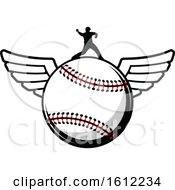 Clipart Of A Silhouetted Pitcher On A Winged Baseball Royalty Free Vector Illustration