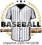 Poster, Art Print Of Baseball Uniform And Bat In A Wreath