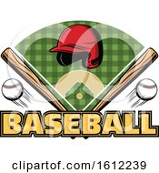Clipart Of A Baseball Helmet Bats And Field Design Royalty Free Vector Illustration