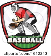 Clipart Of A Baseball Catcher In A Shield Royalty Free Vector Illustration