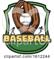 Poster, Art Print Of Baseball In A Glove In A Shield