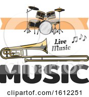 Clipart Of A Music Design Royalty Free Vector Illustration