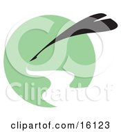Silhouetted Quill Writing With White Ink Over A Green Circle Clipart Illustration