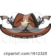Clipart Of A Star Sheriff Badge On A Cowboy Hat With Crossed Pistols Royalty Free Vector Illustration