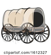 Clipart Of A Covered Wagon Royalty Free Vector Illustration