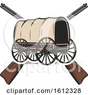 Clipart Of A Covered Wagon Over Crossed Rifles Royalty Free Vector Illustration